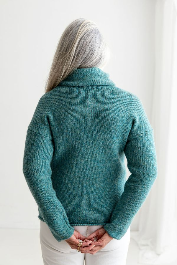 womens cowl neck jumper sweater teal aqua wool