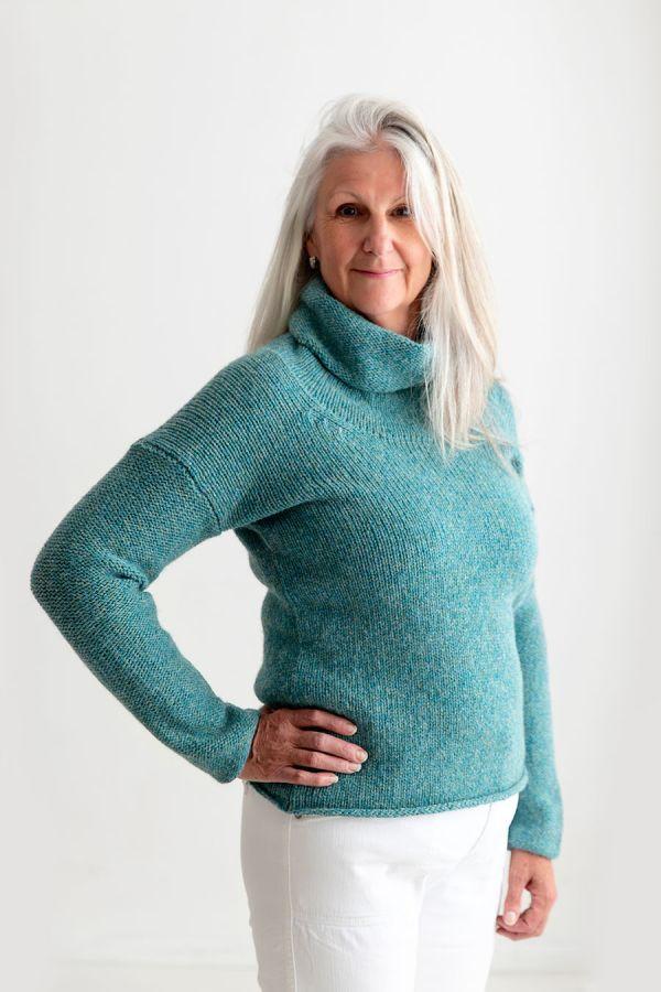 womens chunky wool cowl neck jumper teal aqua