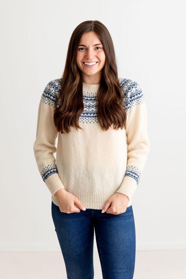 womens cream blue wool fair isle jumper sweater aviemore yoke