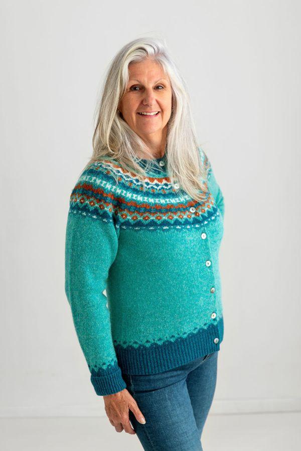 womens fair isle cardigan sweater aqua wool shetland crathie