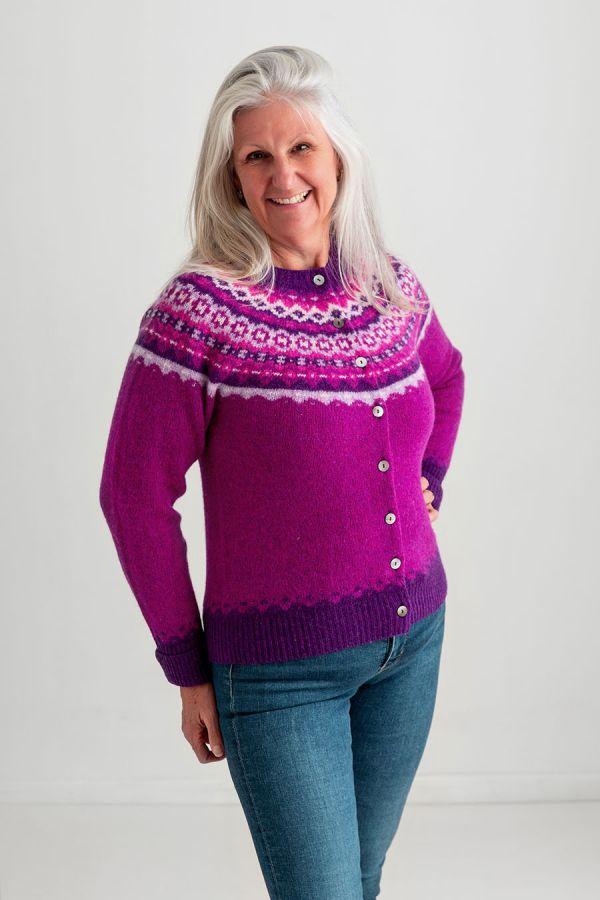 womens fair isle cardigan pink wool fuchsia