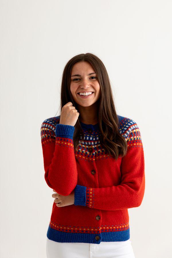 womens red fair isle cardigan ladies wool building blocks front