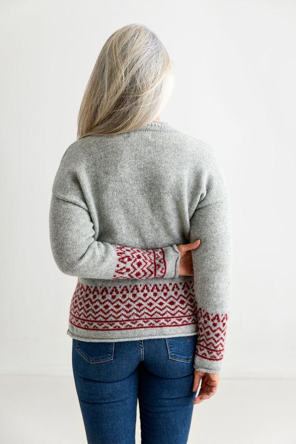 womens fair isle jumper sweater grey red wool back