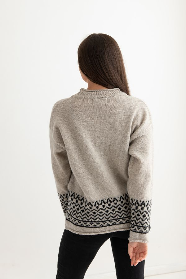 womens fair isle sweater jumper beige black braemar back