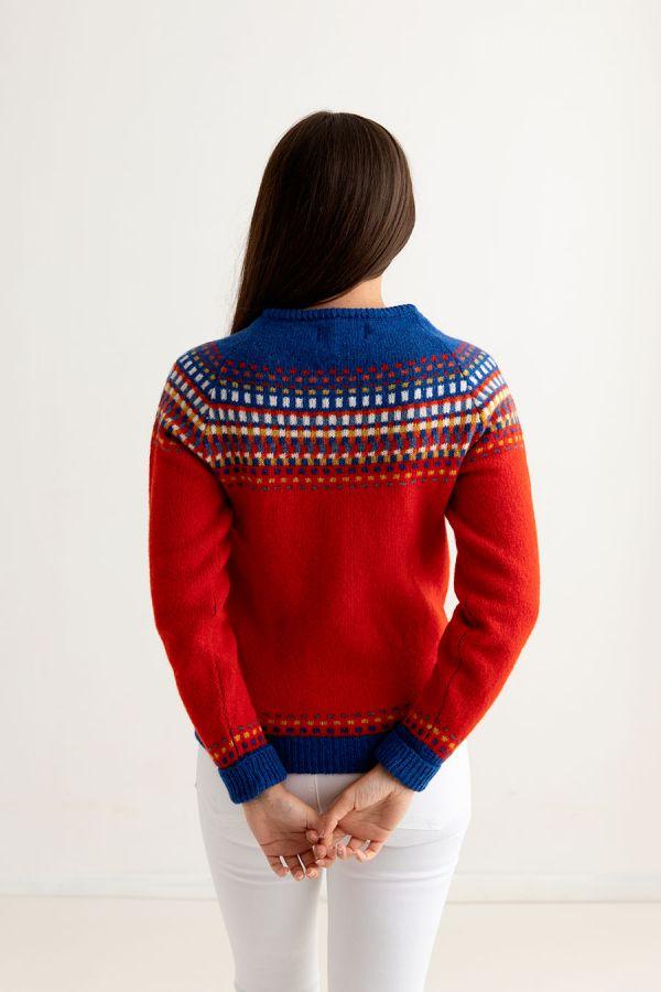 womens fair isle cardigan red wool building blocks back