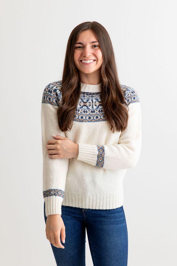 womens fair isle sweater scottish shetland wool ivory festival yoke jumper