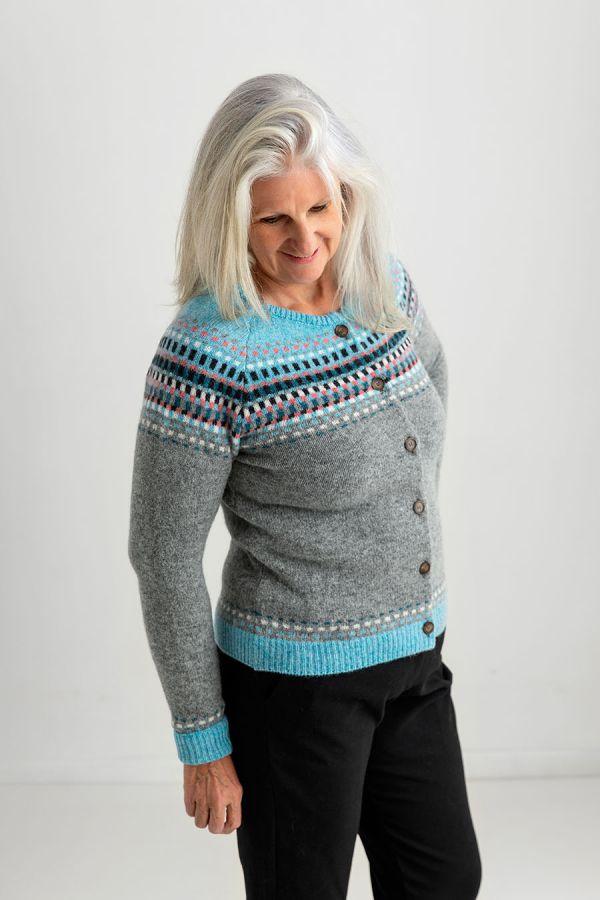 ladies fair isle cardigan grey gray wool building blocks