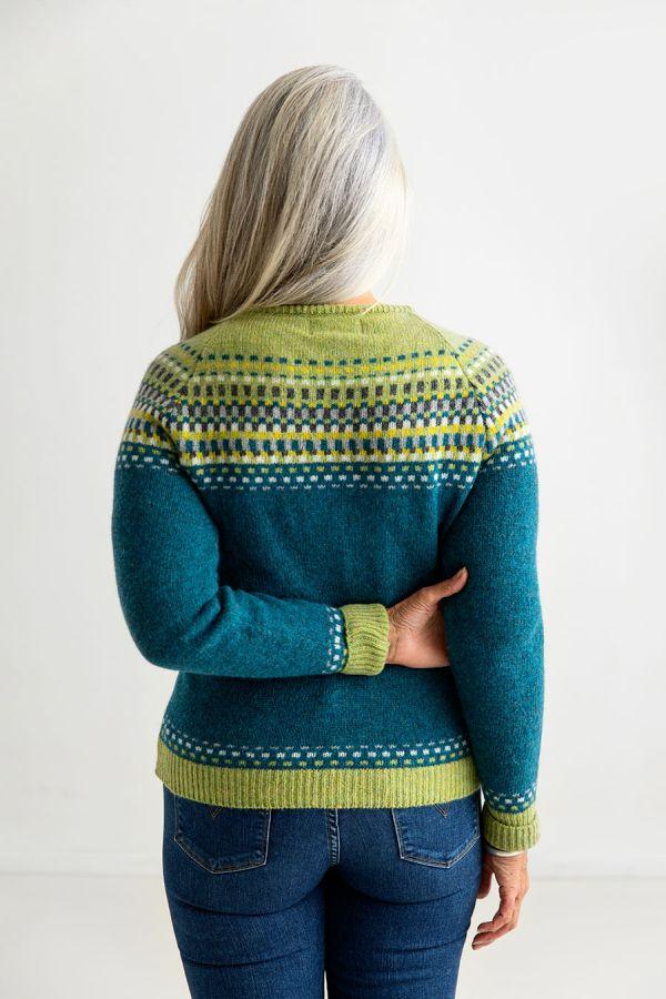ladies fair isle cardigan wool sweater teal green blocks