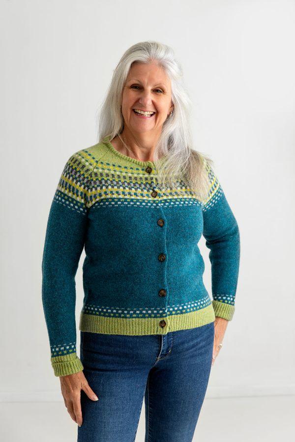 womens fair isle cardigan wool sweater teal green blocks