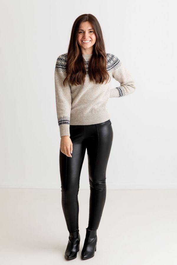 ladies beige wool fair isle jumper sweater aviemore yoke