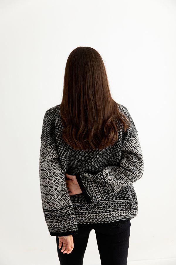 womens fair isle coatigan kimono black putty back