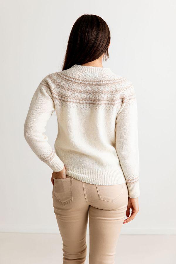 womens fair isle jumper ivory wool aviemore yoke sweater