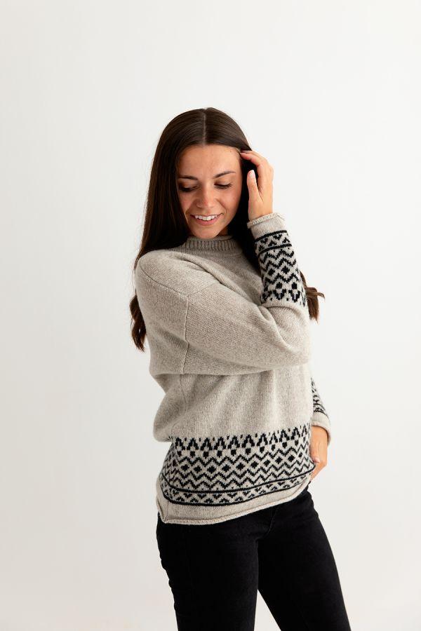 womens fairisle jumper sweater wool beige black ladies side