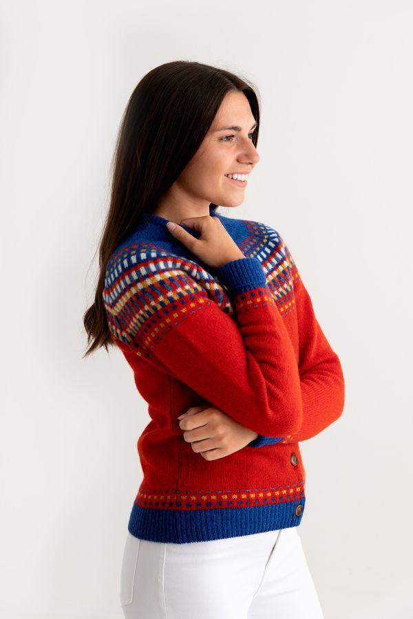 ladies red fairisle cardigan womens wool building blocks side