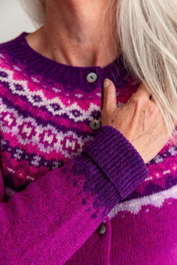 ladies fair isle cardigan sweater pink wool fuchsia