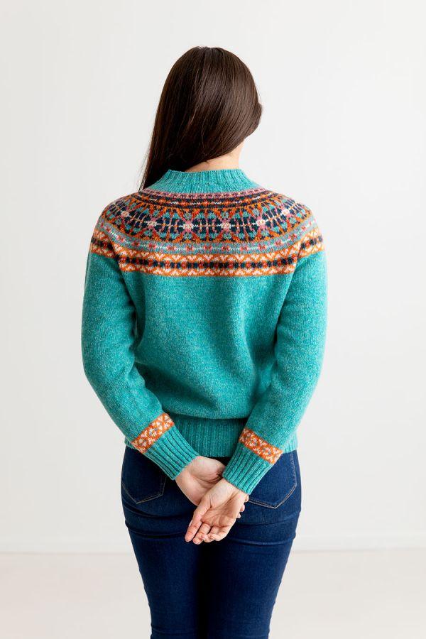 womens festival yoke fair isle jumper aqua orange wool sweater