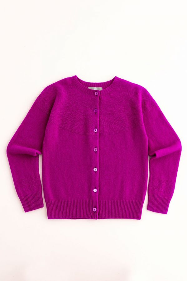 womens fuchsia pink wool cardigan super fine geelong