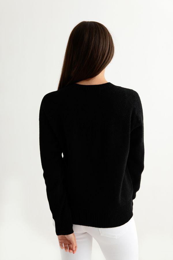 womens gansey guernsey cardigan black back
