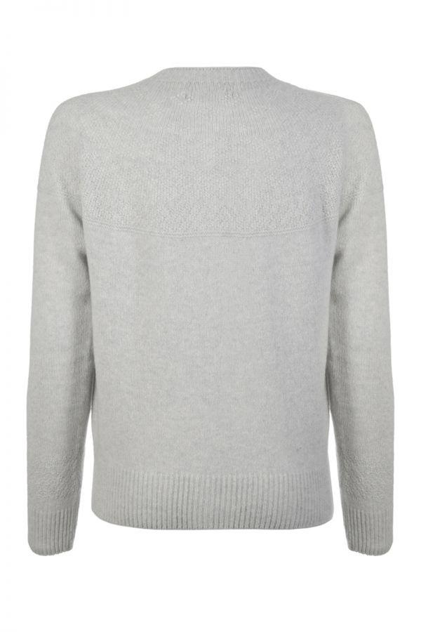 Womens Gansey Cardigan silver grey back