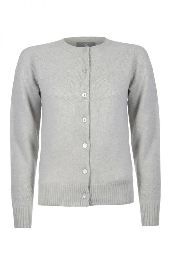 Womens Gansey Cardigan silver grey gray front