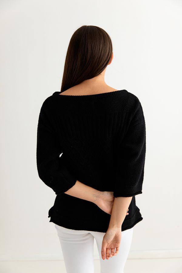 womens lambs wool gansey guernsey jumper sweater black back