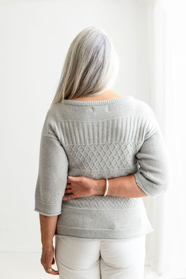 Womens silver grey gansey jumper sweater boat house neck back