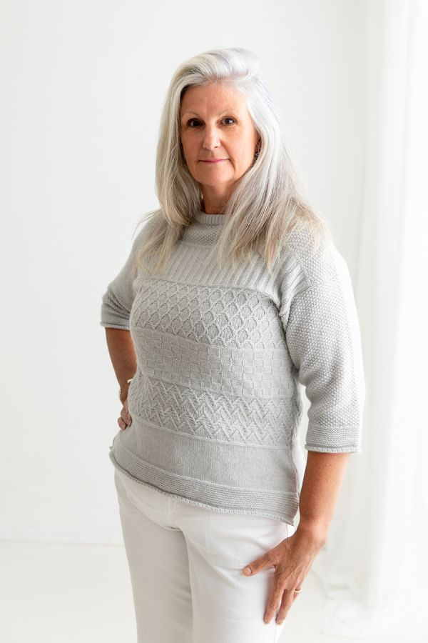 womens silver grey gansey guernsey jumper sweater boat neck lambs wool