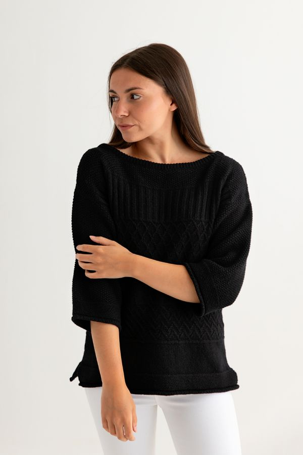 womens black gansey jumper sweater ladies guernsey lambs wool front