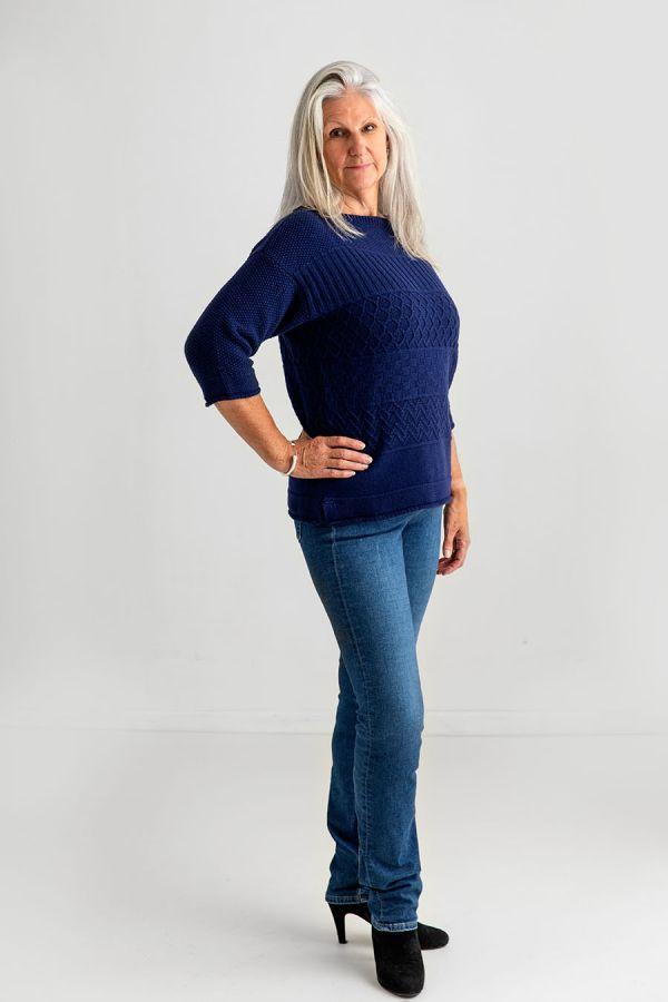 womens guernsey sweater wool jumper navy blue wool gansey