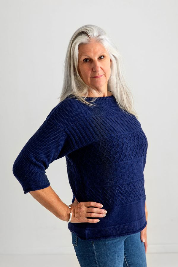 womens gansey wool jumper navy blue guernsey sweater