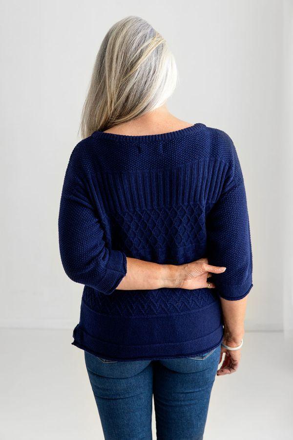 womens gansey jumper blue wool guernsey sweater
