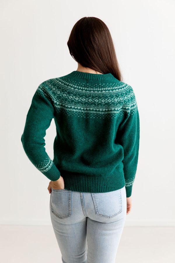 womens green aviemore yoke fair isle jumper sweater