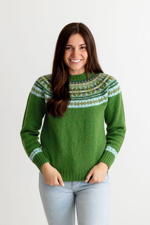 womens green blue shetland wool fair isle jumper sweater festival yoke