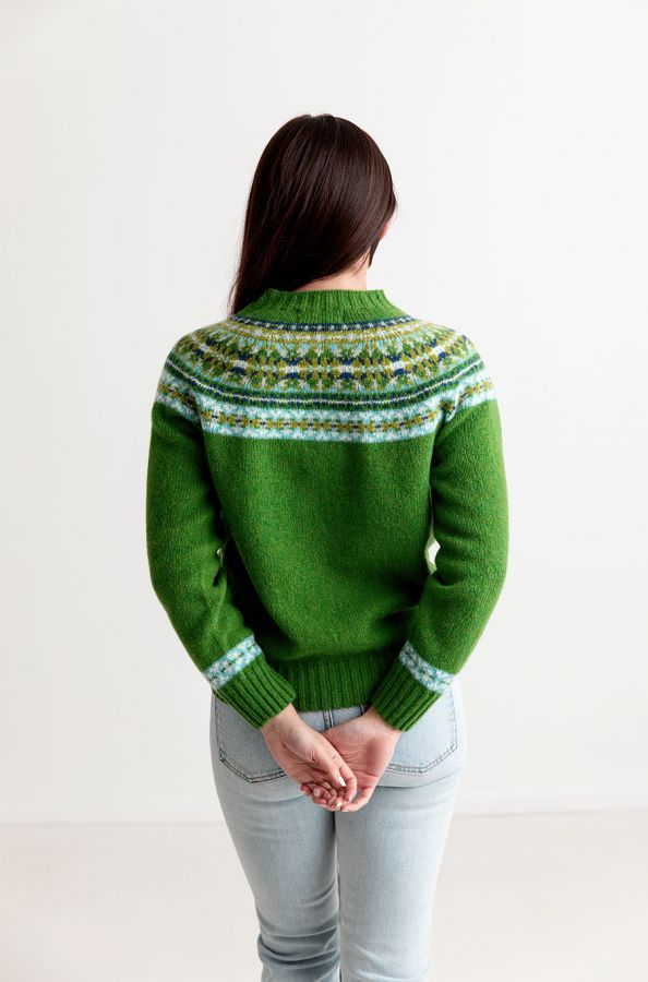 womens green festival yoke fair isle shetland wool jumper sweater
