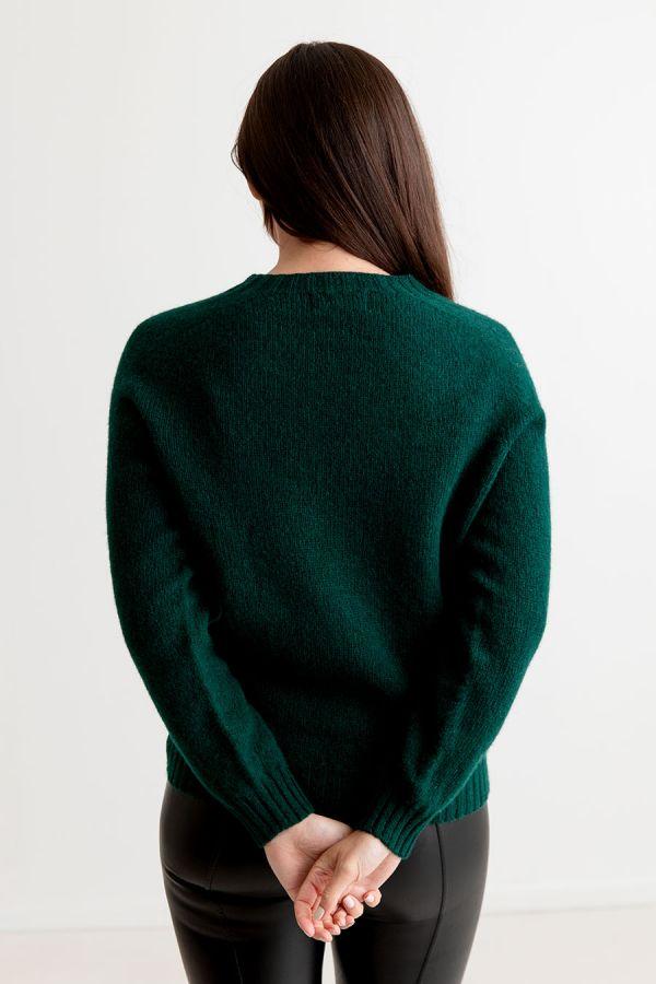 womens green saddle shoulder shetland wool jumper sweater dark bottle forest