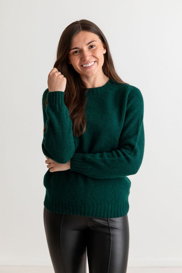 womens green shetland wool jumper dark bottle forest saddle shoulder seamless