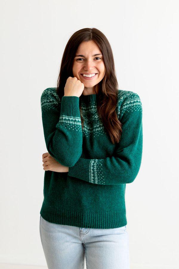 womens green wool fair isle jumper sweater aviemore yoke emerald
