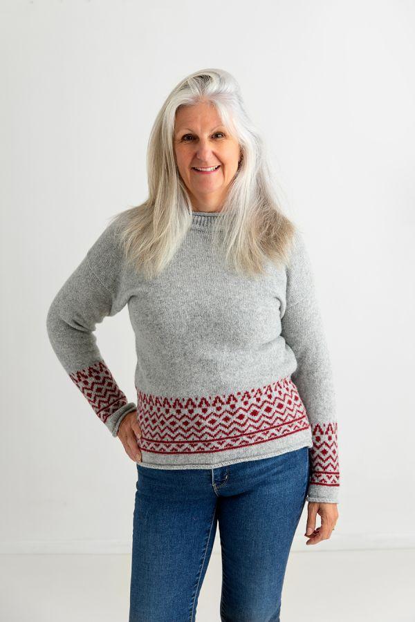 womens light grey fair isle jumper sweater red wool braemar