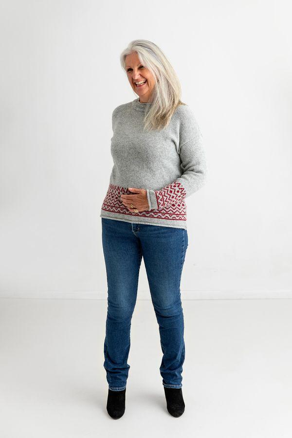 ladies light grey fair isle jumper sweater red wool braemar