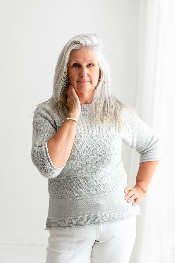 womens silver grey gansey guernsey jumper sweater lambs wool
