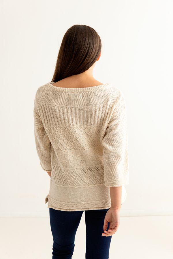 womens gansey guernsey jumper sweater fine geelong lambswool almond back