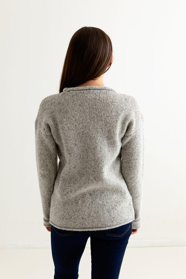 womens light grey chunky wool jumper sweater back