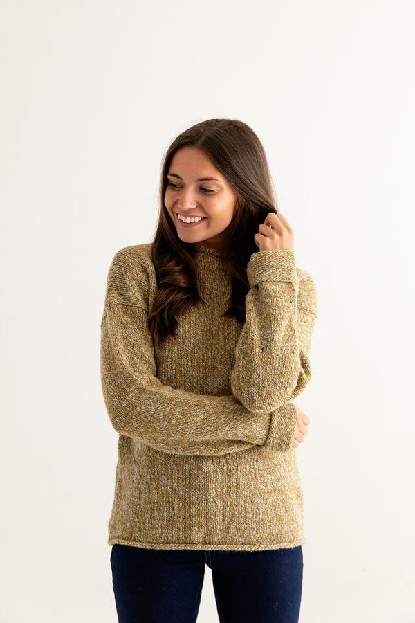 womens ochre chunky wool jumper sweater yellow mustard cuffed front