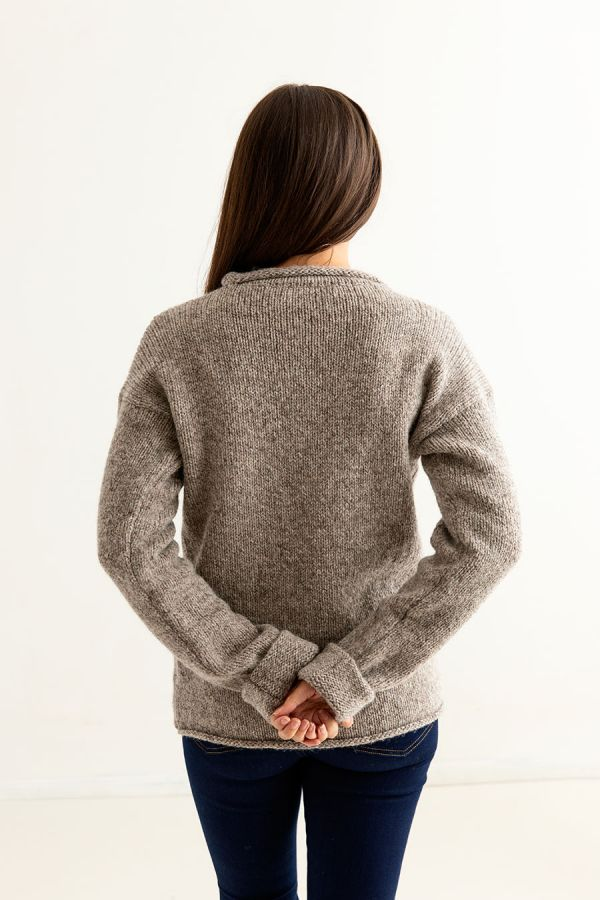 womens natural chunky wool cuffed jumper sweater undyed beige back