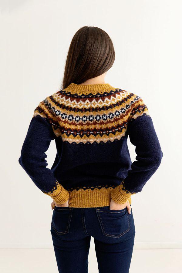 womens navy blue fair isle cardigan crathie back