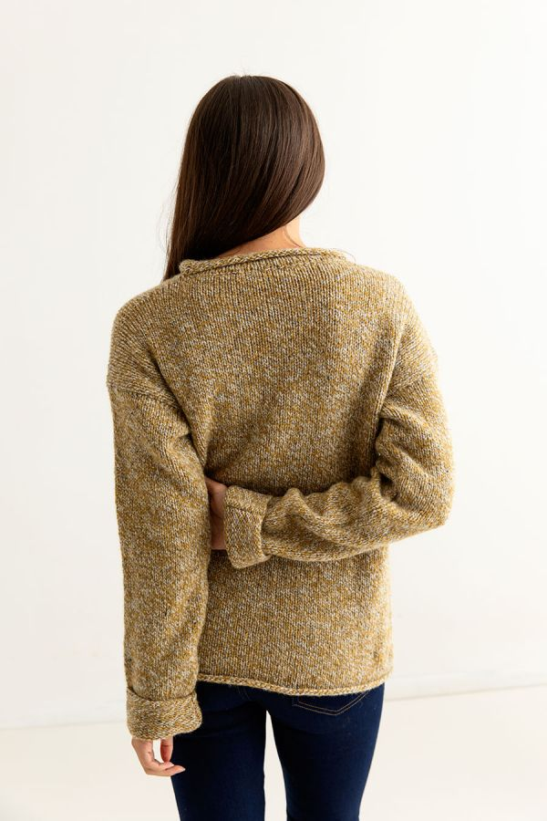 womens chunky cuffed wool jumper sweater ochre back