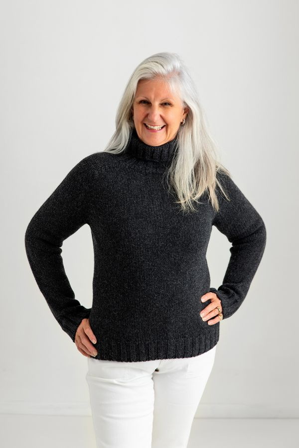 womens polo neck jumper sweater charcoal grey lambs wool geelong