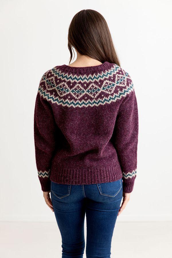 womens purple yoke fair isle jumper sweater chunky wool aubergine