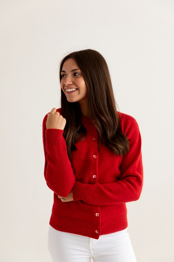 womens red gansey guernsey cardigan superfine lambs wool front