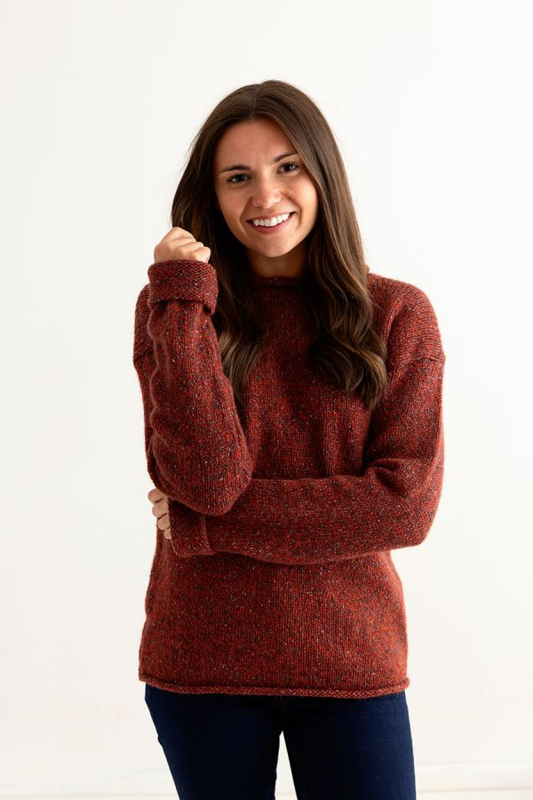 womens red chunky wool jumper sweater russet cuffed front